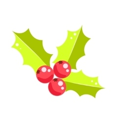 Holly berry christmas icon vector