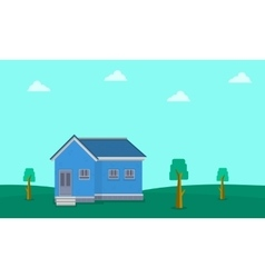 Landscape of house on hill vector image vector image