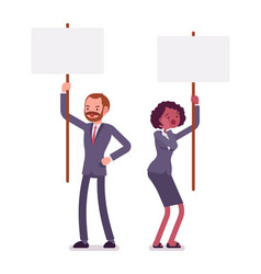 Man and woman holding picket signs copy space vector