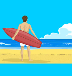 man with surfboard looking into the distance vector image