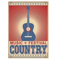 Music festival background with guitar isolated on vector
