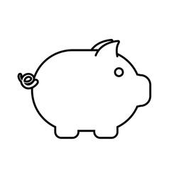 piggy money cash safety outline vector image