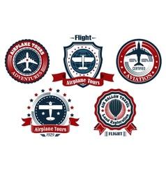 Retro flight emblem logo label set vector