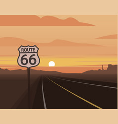 route 66 and sunset scene vector image