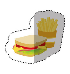 sandwich with fries french icon vector image vector image