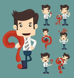 Set of businessman characters poses with question vector