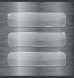 Transparent glass plates on metal brushed vector
