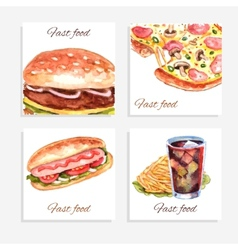 Watercolor Fastfood Cards vector image vector image