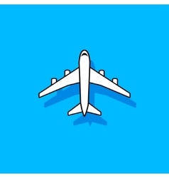 White plane flying over blue sky vector image vector image