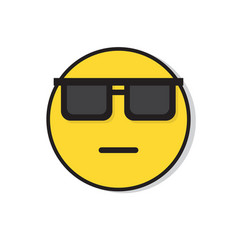 Yellow sad face neutral wear sun glasses negative vector