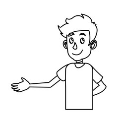 Young boy teen male image outline vector