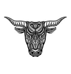 Ethnic ornamented bull ox or minotaur taurus vector image