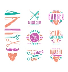 Set of vintage barber shop badges vector image