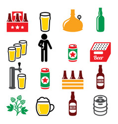 Beer brewery drinking alcohol in pub icon vector