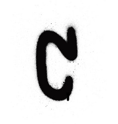 Sprayed c font graffiti with leak in black vector