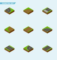 Isometric way set of asphalt bitumen flat and vector