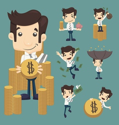 Set of businessman make money characters poses vector