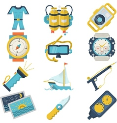Diving sport flat color icons vector