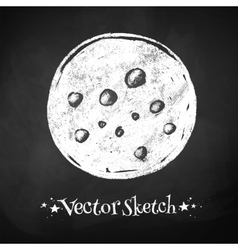 Chalkboard drawing of moon vector