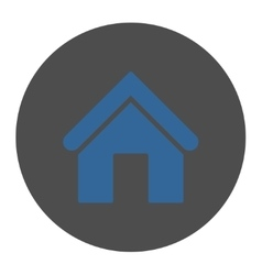 Home flat cobalt and gray colors round button vector