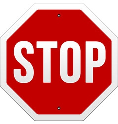 Stop sign on white vector