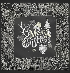 Chalk Merry Christmas frame on blackboard vector image
