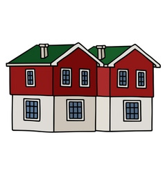 Old red houses vector