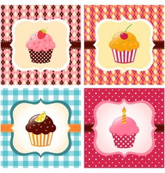 Cupcakes cards vector