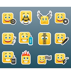 Mechanic smile stickers set vector image