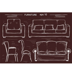 Set of couch and armchairs sketchy furnitures vector