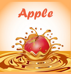 A splash of juice from a falling apple and a drop vector