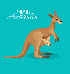 austrastralia kangaroo animal mother with child in vector image