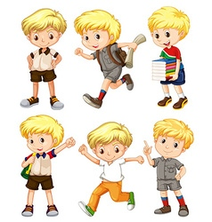 Boy with blond hair in different actions vector