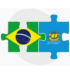 Brazil and saint pierre and miquelon flags vector
