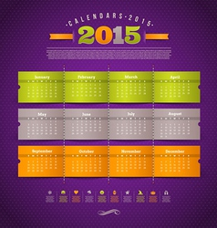 Calendar of 2015 year with holidays vector