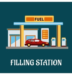 Car refueling at a filling station vector
