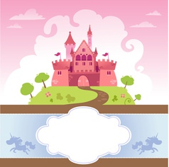 Card with cartoon castle vector
