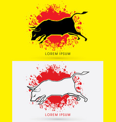 Charging bull fighting bull vector