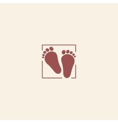 Child pair of footprints icon toddler barefoot vector