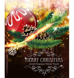 Christmas ball with sparkles and fir branches vector