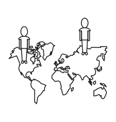 Community world social media network thin line vector