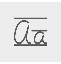 Cursive letter a thin line icon vector