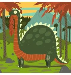 Dinosaur eating leaves vector