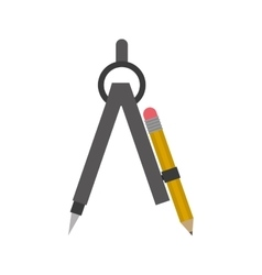 Drawing compass with pencil set vector