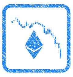 Ethereum fall chart framed stamp vector
