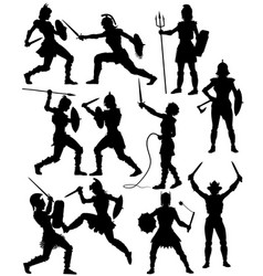 female gladiator silhouettes vector image vector image