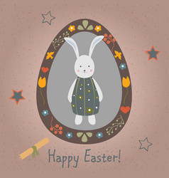 Festive easter egg with cute character of bunny vector