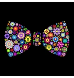 floral bow tie on dlack background vector image