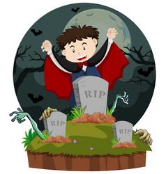 graveyard scene with vampire vector image