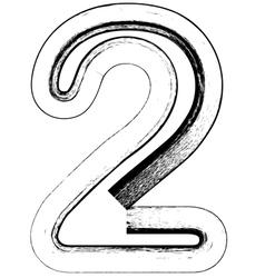 Grunge Font number 2 vector image vector image